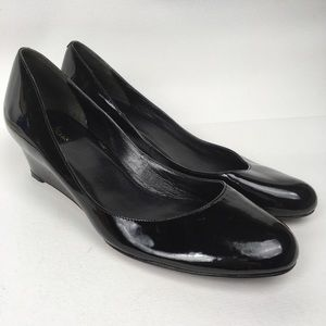 COLE HAAN Sz 10B Black Patent Leather Wedges